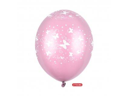 balonek ruzovy motylci metal strong 30cm SB14M 217 081 6 01