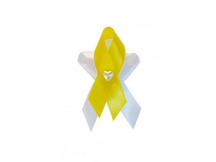 Svatební vývazek bílo-žlutý se srdíčkem 222239