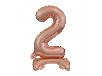 balonek foliovy cislo stojici 2 38cm ruzovo zlaty 9911735 1