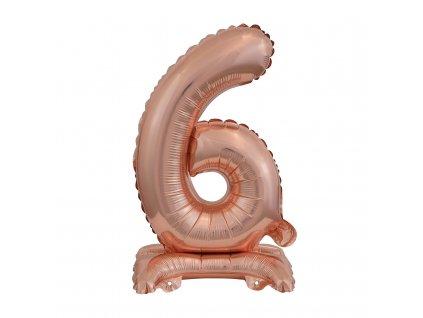 balonek foliovy cislo stojici 6 38cm ruzovo zlaty 9911739 1