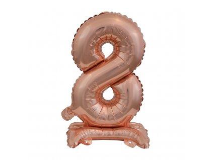 balonek foliovy cislo stojici 8 38cm ruzovo zlaty 9911741 1