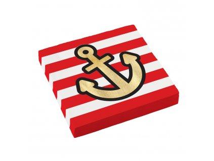 ubrousky cerveno bile pirati 33x33cm 9909912 01