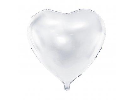foliovy balonek srdce bile 45cm FB9M 008 01