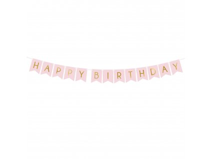 banner happy birthday sv ruzovy 15x175cm GRL57 081J 01