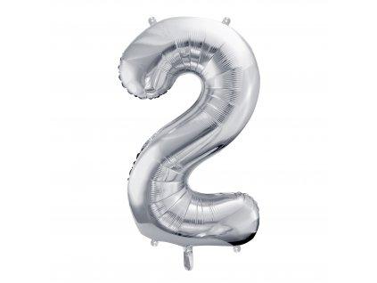 balonek cislo 2 stribrny 86cm FB1M 2 018 01