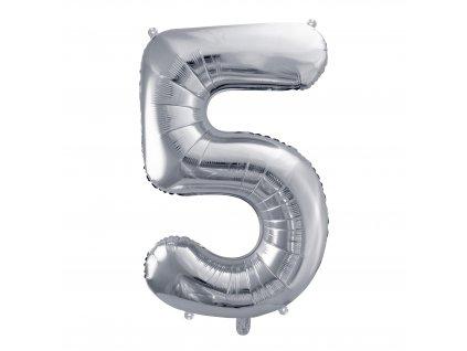 balonek cislo 5 stribrny 86cm FB1M 5 018 01