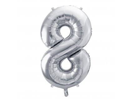 balonek cislo 8 stribrny 86cm FB1M 8 018 01