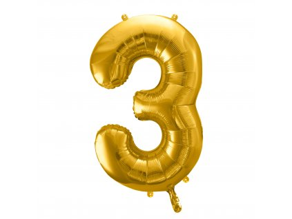 balonek cislo 3 zlaty 86cm FB1M 3 019 01
