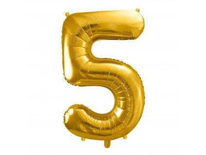 balonek cislo 5 zlaty 86cm FB1M 5 019 01