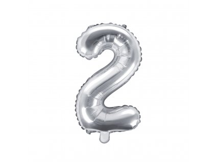 balonek cislo 2 stribrny 35cm FB10M 2 018 01