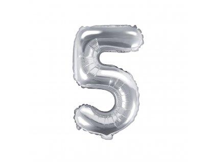 balonek cislo 5 stribrny 35cm FB10M 5 018 01