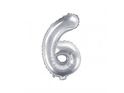 balonek cislo 6 stribrny 35cm FB10M 6 018 01