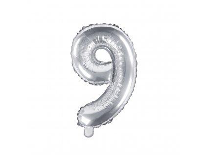 balonek cislo 9 stribrny 35cm FB10M 9 018 01