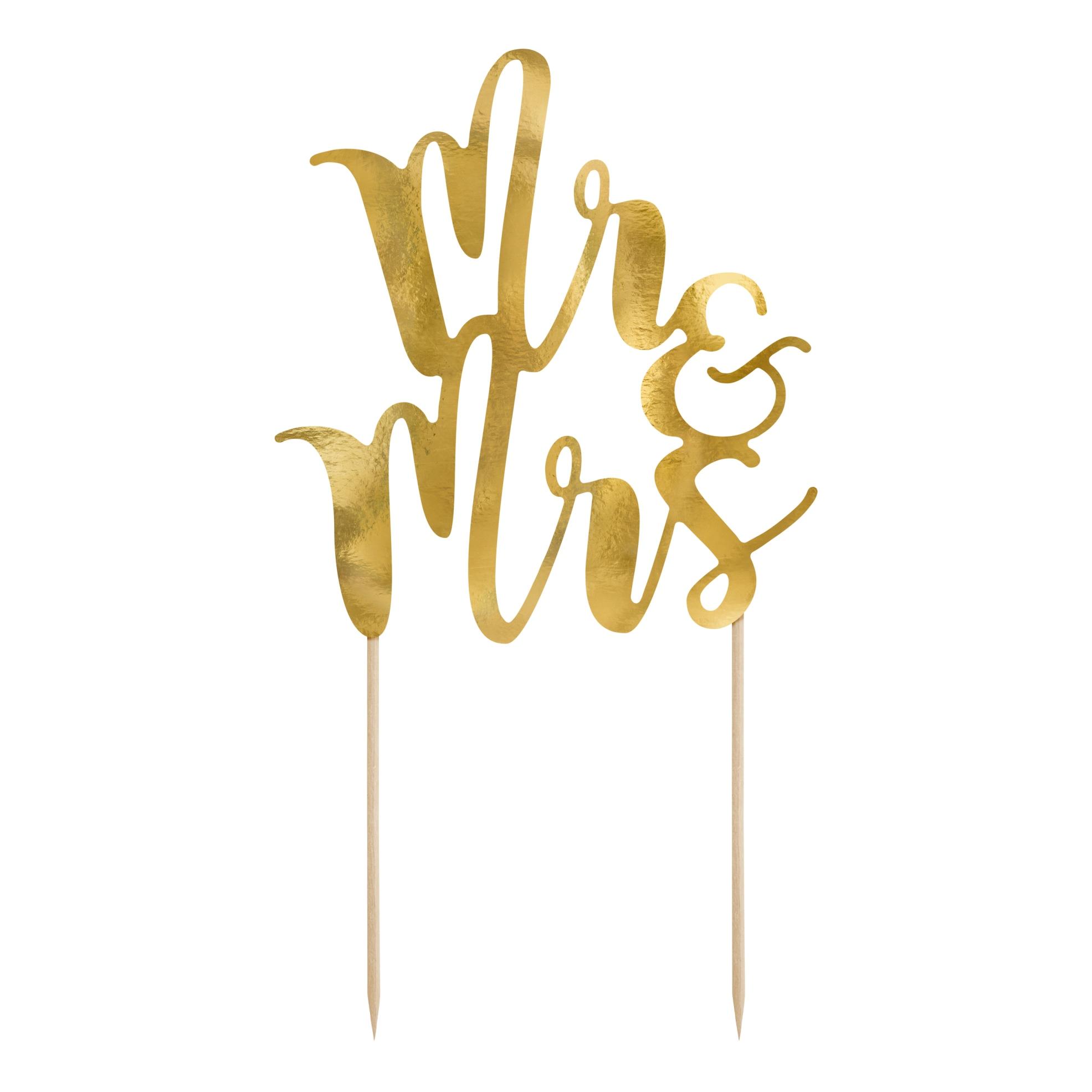 Zápich do dortu Mr&Mrs lesklý zlatý, 25,5 cm