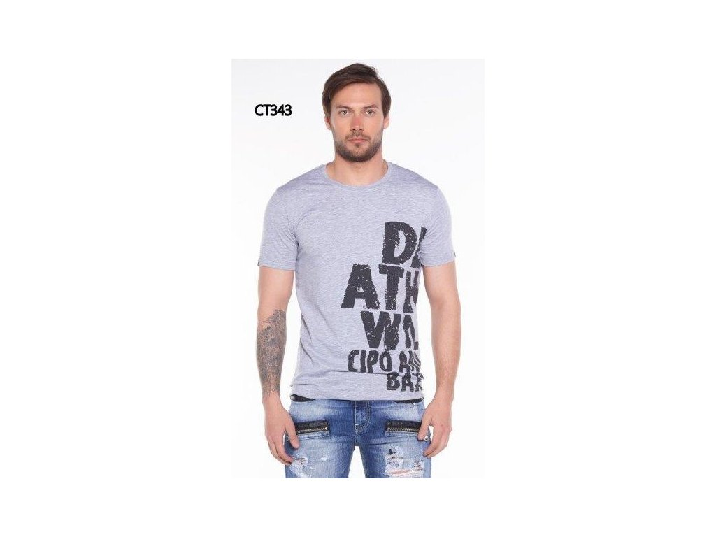 Pánské tričko CIPO & BAXX CT 343 Grey