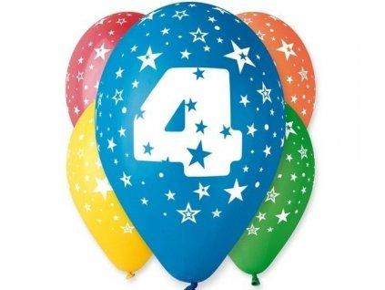 "Pastelové balóny ""4"" Happy Birthday 5ks v balení"