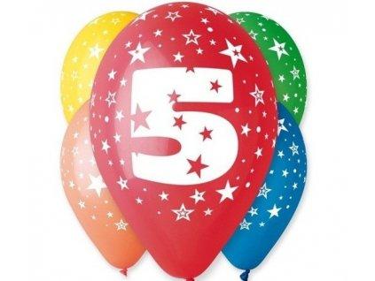 "Pastelové balóny ""5"" Happy Birthday 5ks v balení"