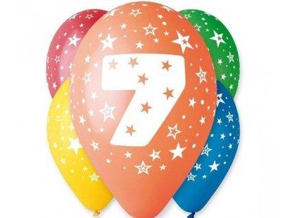 "Pastelové balóny ""7"" Happy Birthday 5ks v balení"