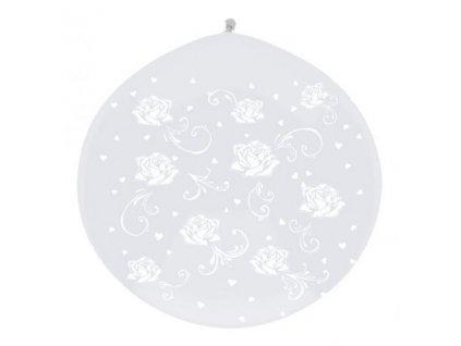 Jumbo balón latexový 1m White roses