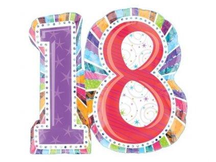 "Fóliový balón ""18"" Happy Birthday SuperShape 71x66cm"
