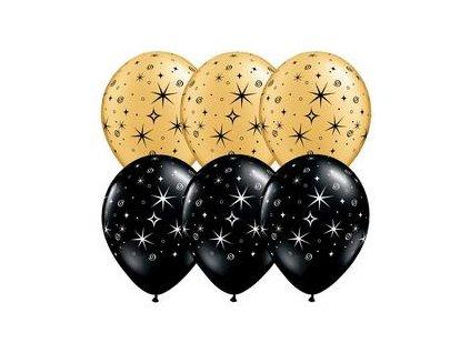 11 inch es sparkles swirls black gold szilveszteri lufi q12578