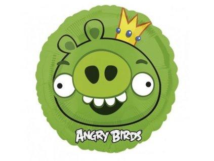 Fóliovy balón Angry Birds Green King 47cm