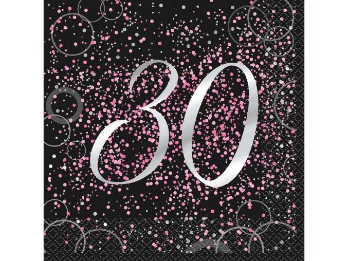serwetki 30 urodziny papierowe glitz rozowe 16