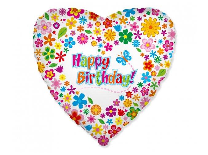 Fóliový balón Srdce Happy Birthday 46cm