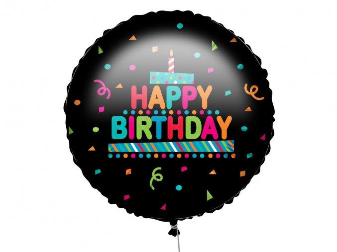 eng pl Happy Birthday Black Confetti Foil Balloon 46 cm 1 pc 53000 1