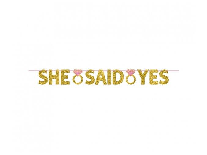 Girlanda-Nápis She said yes  Gold gllitz  1,52m