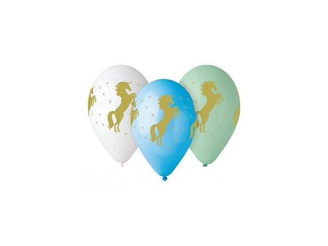 balony zloty jednorozec 5szt