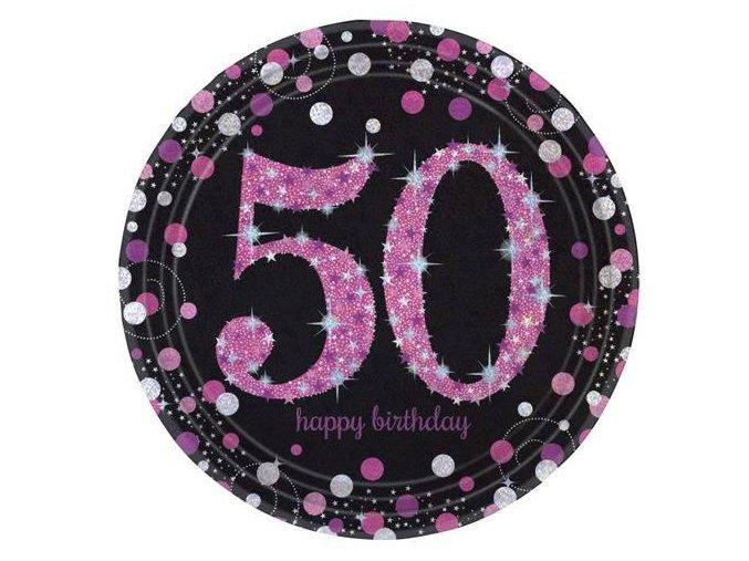 eng pl Pink Celebration 50th Prismatic Paper Plates 23 cm 8 pcs 20133 2 (1)