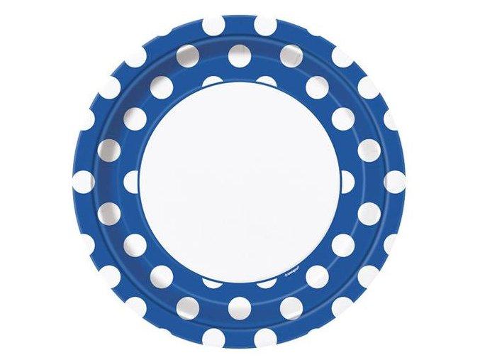eng pl Blue paper plates with dots 23 cm 8 pcs 25258 1