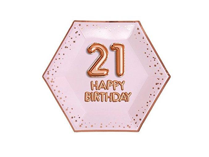 Neviti Neviti 773192 Glitz and Glamour Plate Large Pink and Rose Gold Age 21 Paper Plates 887648959