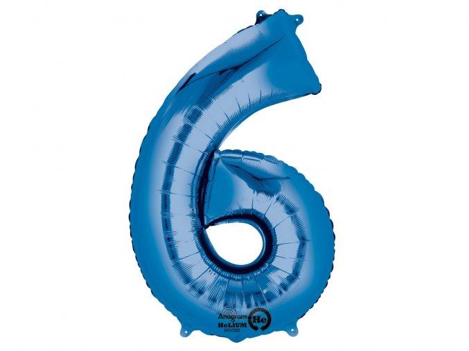 Fóliový balón číslo ,,6,,  Modrý 86cm