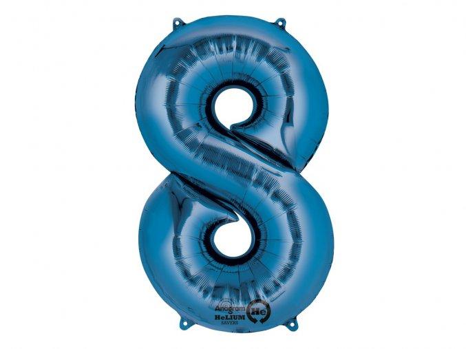 Fóliový balón číslo ,,8,, modrá  86cm