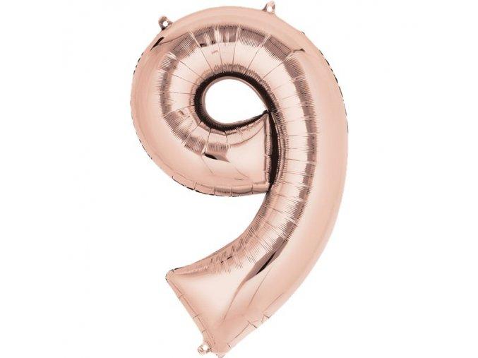 fóliový balón číslo ,,9,, rose gold  20x 35cm