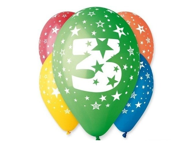 "Pastelové balóny ""3"" Happy Birthday 5ks v balení"