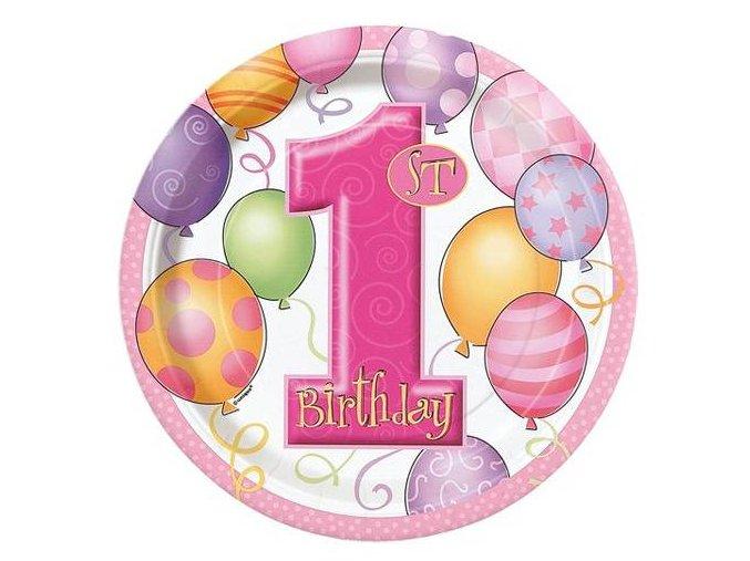 eng pl 1st Birthday Balloons Pink Plates 23 cm 8 pcs 24606 1