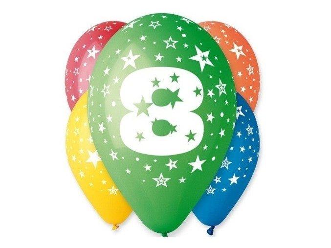 "Pastelové balóny ""8"" Happy Birthday 5ks v balení"