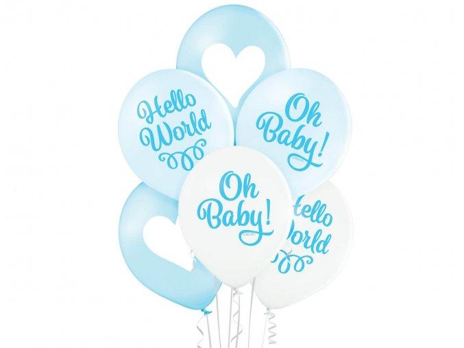 eng pl Balloons Oh Baby Boy Blue 30 cm 6 pcs 47907 2