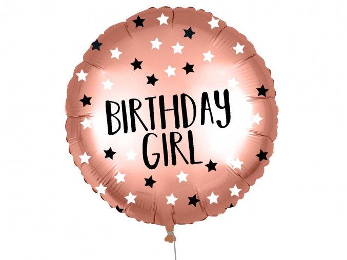 eng pl Rose Gold Birthday Girl Foil Balloon 46 cm 1 pc 53010 1