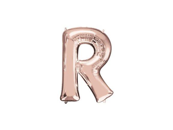 Fóliový balón pímeno ,,R,, rose gold 58x81cm