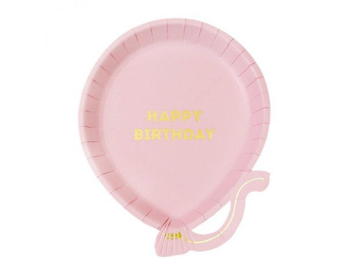 Tanier ružový balón Happy Birthday 20x17cm 12ks v balení