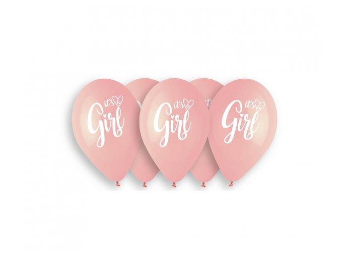 Latexové balóny Its Girl pink  5ks v balení