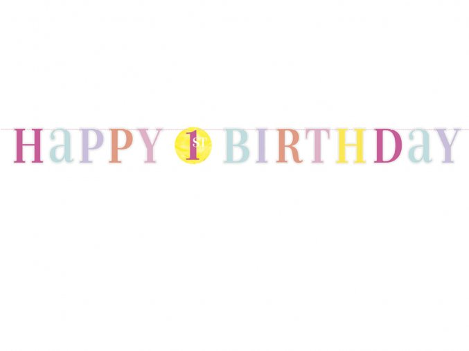 eng pl Letter Banner 1st Birthday Pink 180cm 37828 1