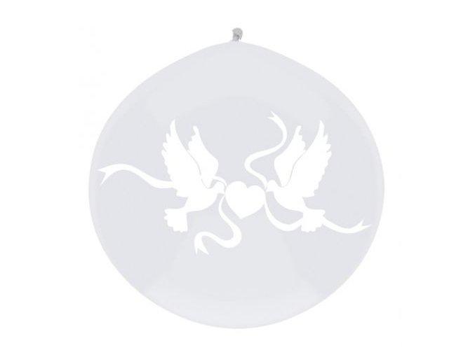 Jumbo balón latexový White doves 1m