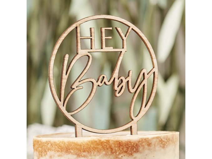 bab 109 wooden hey baby cake topper min