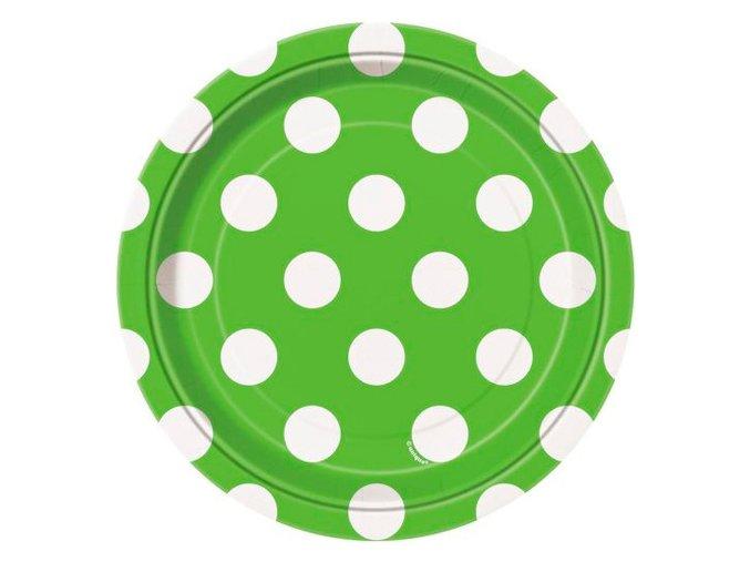 Tanier zeleno limetkova s bielymi bodkami 17,1cm 8ks v balení