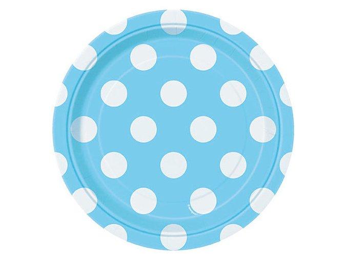 Tanier bledomodrý s bielymi bodkami 17,1cm 8ks v balení
